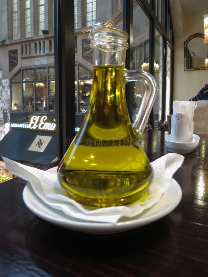 Olive oil jar from Lebanon in Prague stock image