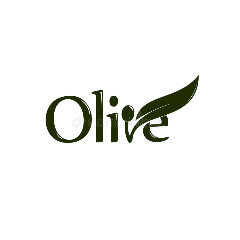 Olive oil label, organic product. Vector olive branch with leaf and drupe, vector logo. stock illustration