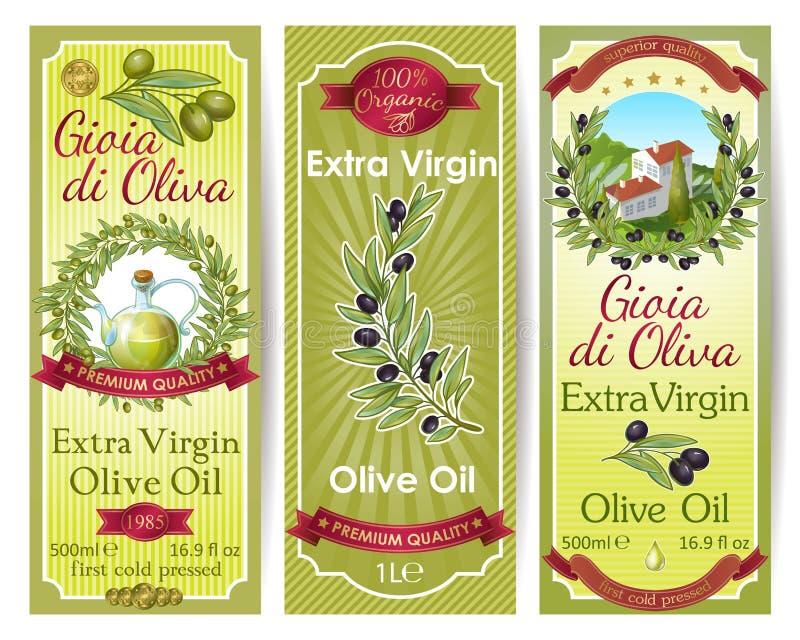 Olive Oil Labels Set libre illustration