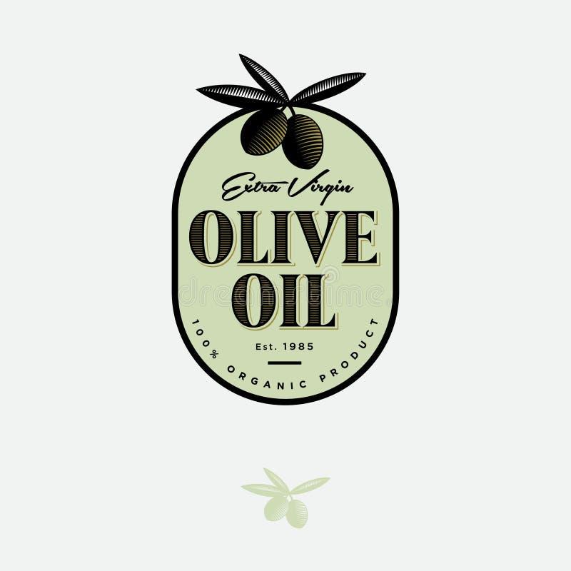 Olive Oil Logo und Aufkleber Oliven mit Blattillustration am Gravieren von Art lizenzfreie abbildung