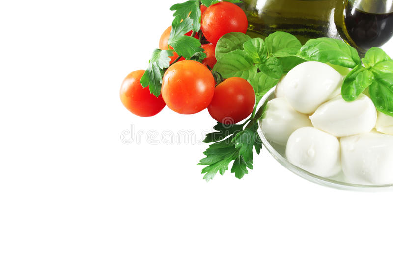 Olive oil, mozzarella and tomatoes royalty free stock photography