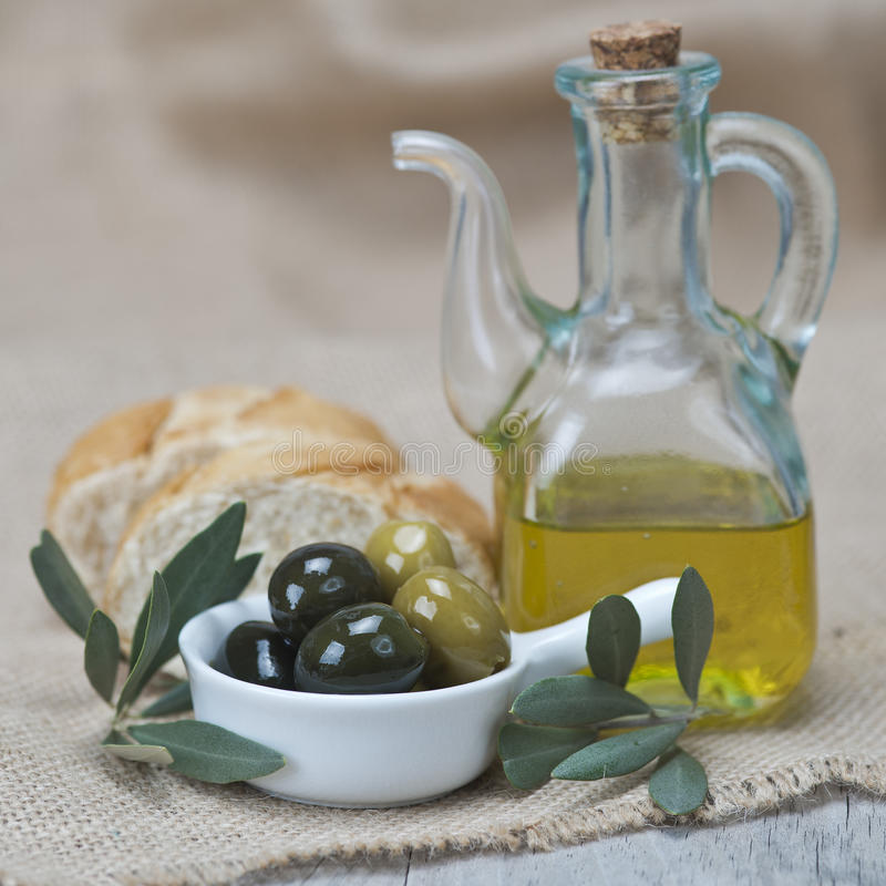 Download Olive Oil With Olives And Bread Stock Photo - Image: 27454710