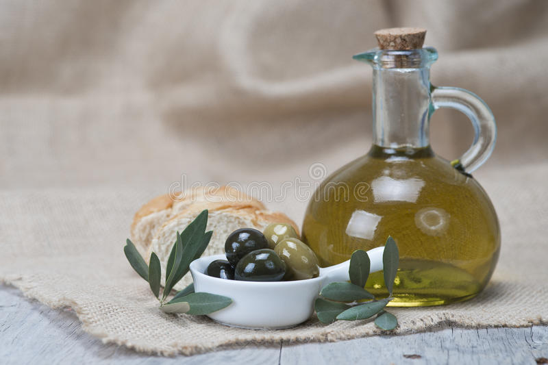 Download Olive Oil With Olives And Bread Stock Photo - Image of black, food: 27454754