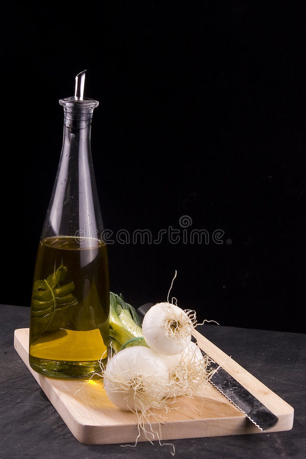 Olive Oil and Onions stock photography