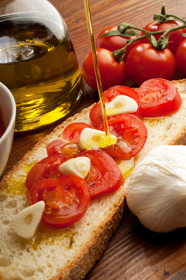 Free Olive Oil Over Bruschetta Stock Photography - 13723792