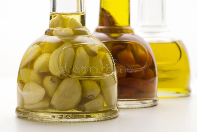 Olive oil pots stock image