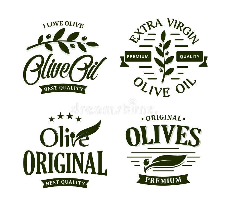 Olive oil premium quality. Olives branch vintage label collection. Extra virgin emblem set. Healthy products retro green royalty free illustration