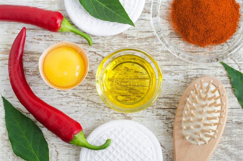 Olive oil, raw egg yolk, fresh red chili pepper and dry chili powder for preparing diy hair mask against hair loss. Ingredients of homemade natural cosmetics stock photography