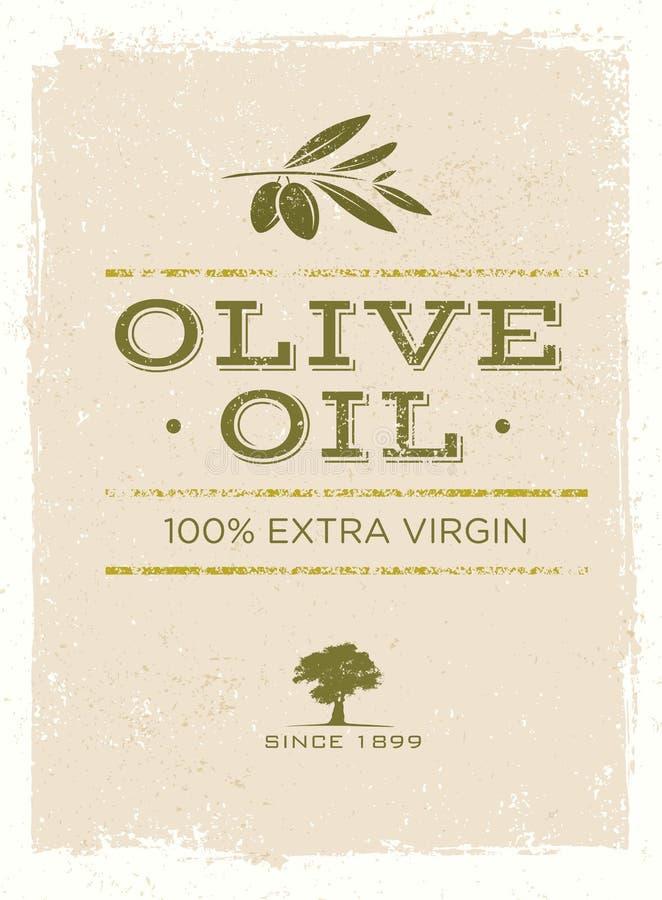 Olive Oil Rough Vector Illustration organique sur le fond grunge illustration stock