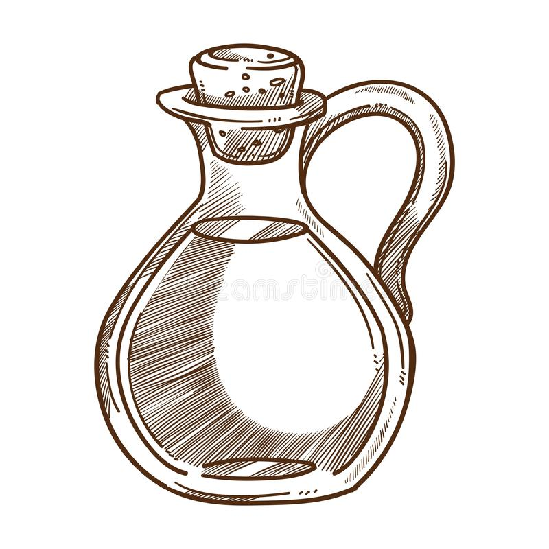 Olive oil, salad seasoning in glass container with cork isolated sketch. Salad seasoning, olive oil, liquid plant essence in glass jug with cork, food vector royalty free illustration