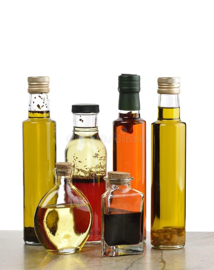 Olive Oil, sauce salade et vinaigre photos libres de droits