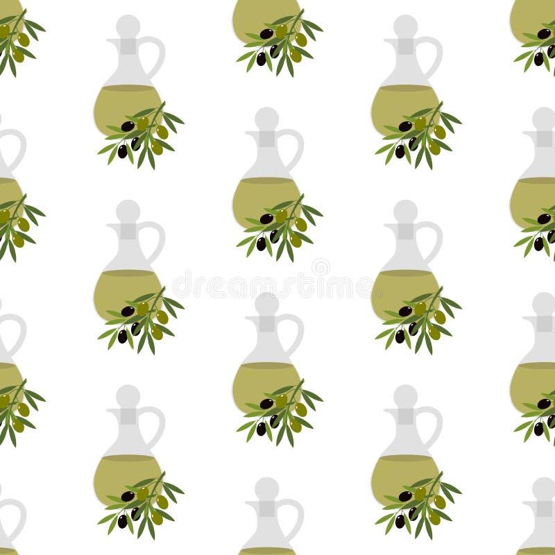 Olive oil seamless pattern vector illustration