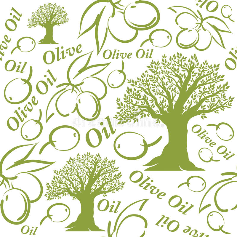 Olive oil seamless pattern. stock illustration