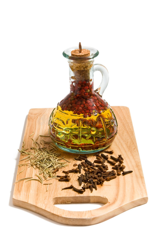 Olive oil with spicery stock image