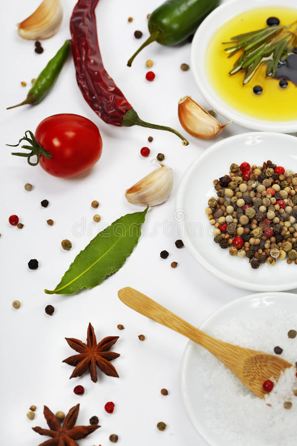 Download Olive oil and spices stock photo. Image of eating, copyspace - 23329836