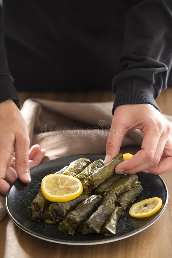 Olive oil stuffed leaves on the plate. With vegetable and lemon for service for restaurant concept from Turkey royalty free stock photo