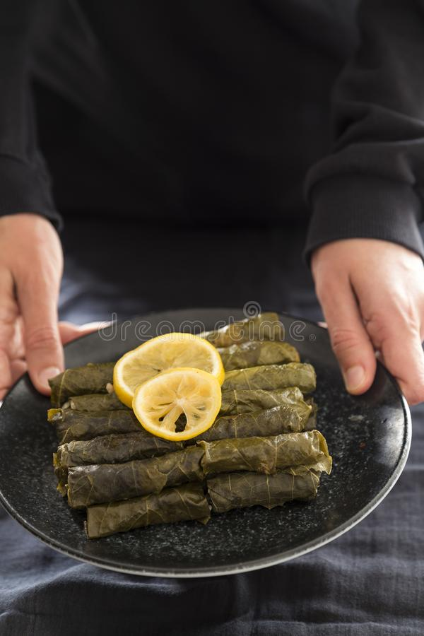 Olive oil stuffed leaves on the plate. With vegetable and lemon for service for restaurant concept from Turkey royalty free stock image