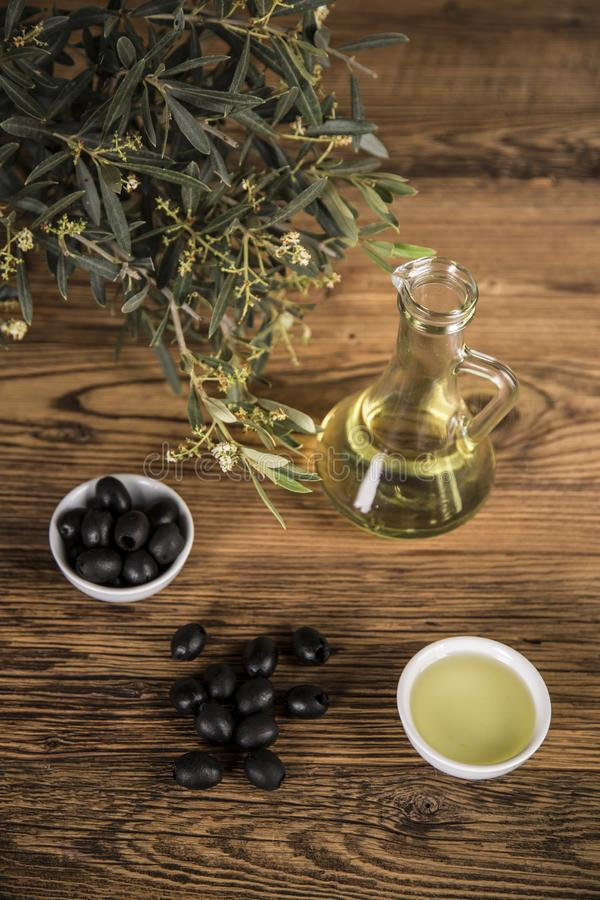 Olive oil and olive tree and black olives and bottles with olive on a wooden table.  royalty free stock photography