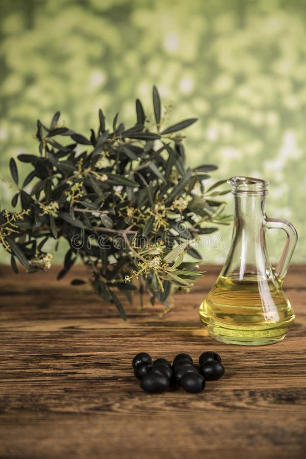 Olive oil and olive tree and black olives and bottles with olive on a wooden table.  royalty free stock images