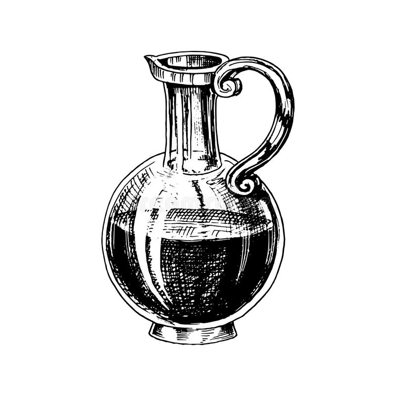 Olive oil of trees in bottle or jar. Organic vegetarian product. Black fruit for cooking food. Engraved hand drawn in stock illustration