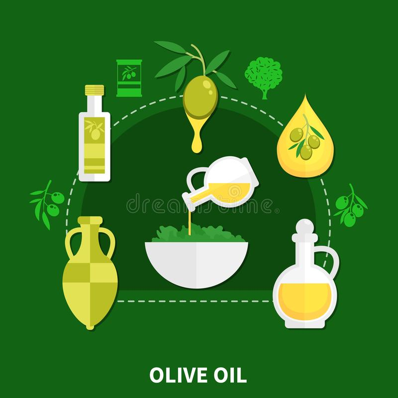 Olive Oil Flat Composition. Olive oil in various packaging, bowl with salad flat composition on green background vector illustration vector illustration