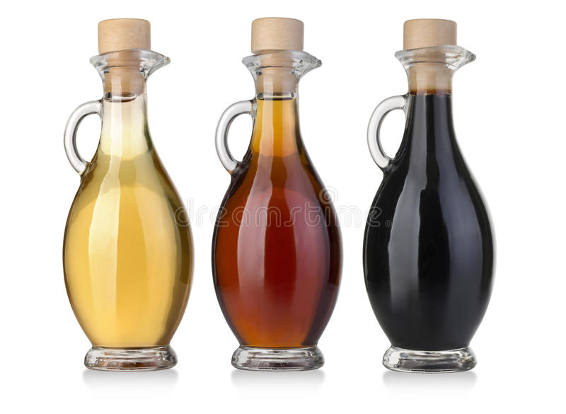 Olive oil and vinegar bottles royalty free stock photos