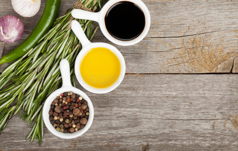 Olive oil and vinegar with spices royalty free stock photo