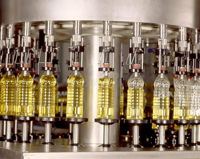 Olive Production. Olive oil filling and factory stock image