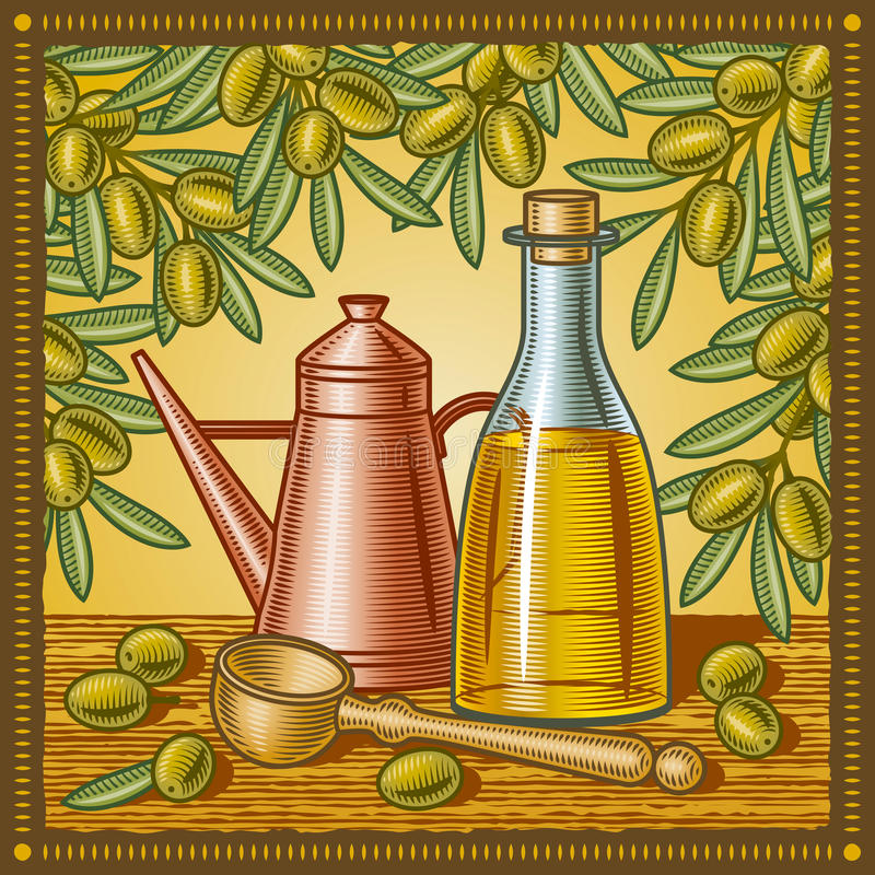 olive retro för livstidsolja fortfarande stock illustrationer