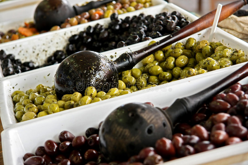Olive sale. Many kinds of olives in Provence royalty free stock photos