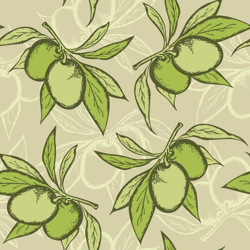 Olive seamless pattern royalty free illustration