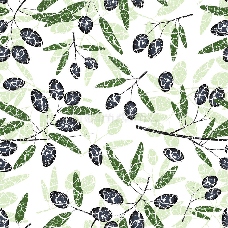 Olive Seamless Pattern lizenzfreie abbildung