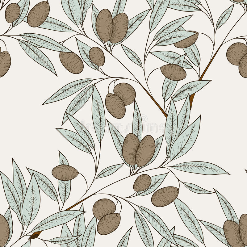 Olive seamless pattern vector illustration