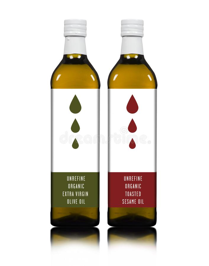 Olive and Sesame oil bottles royalty free stock photo