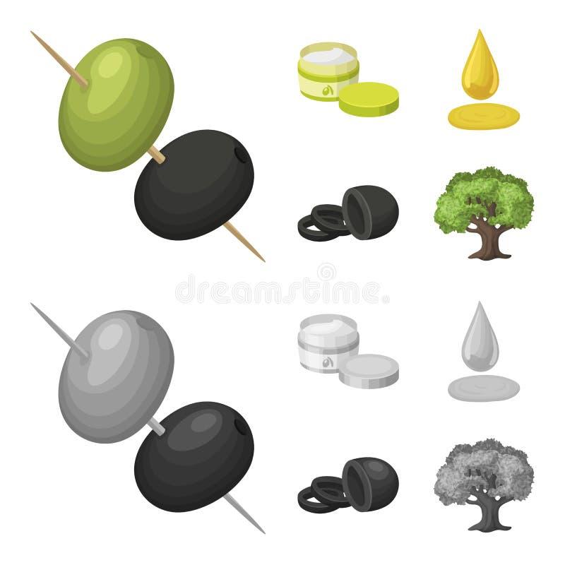 Olive sugli spiedi Un pezzo di olive nere, un barattolo di crema, una goccia di olio Le olive hanno messo le icone della raccolta illustrazione di stock