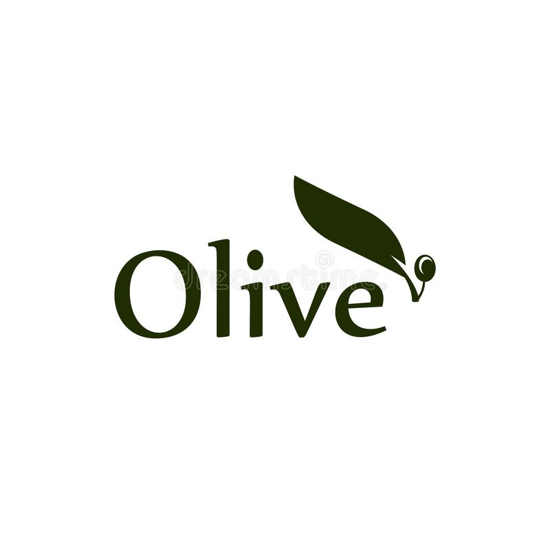 Olive tree leaf, branch and fruit vector logo. Olives oil sign. royalty free illustration