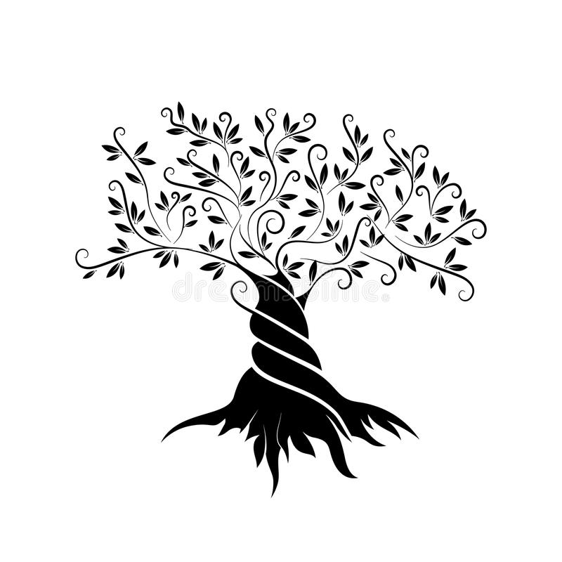Olive tree outline curl silhouette vector illustration