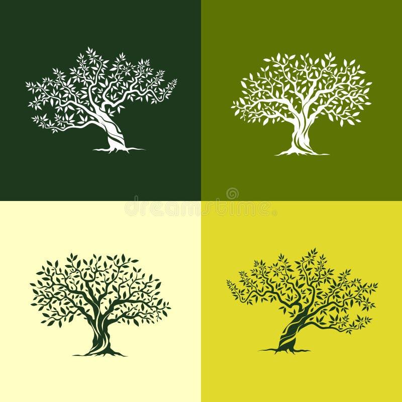 Olive tree silhouette icons set stock illustration