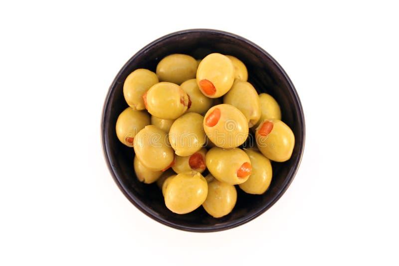 Olive in un piatto immagini stock libere da diritti