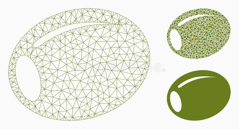 Olive Vector Mesh Carcass Model and Triangle Mosaic Icon. Mesh olive model with triangle mosaic icon. Wire carcass polygonal mesh of olive. Vector mosaic of royalty free illustration