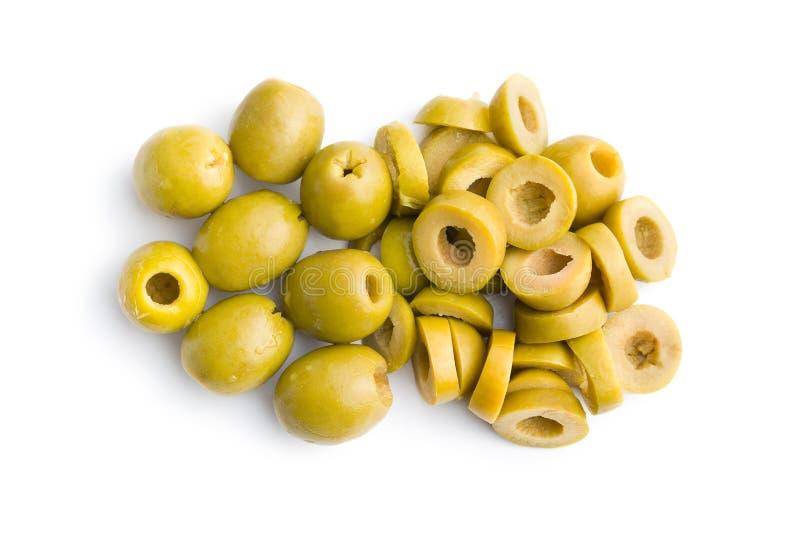 Olive verdi affettate immagini stock