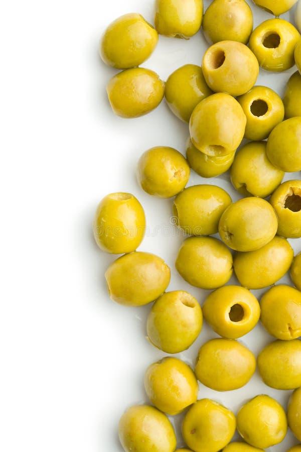 Olive verdi snocciolate fotografia stock libera da diritti