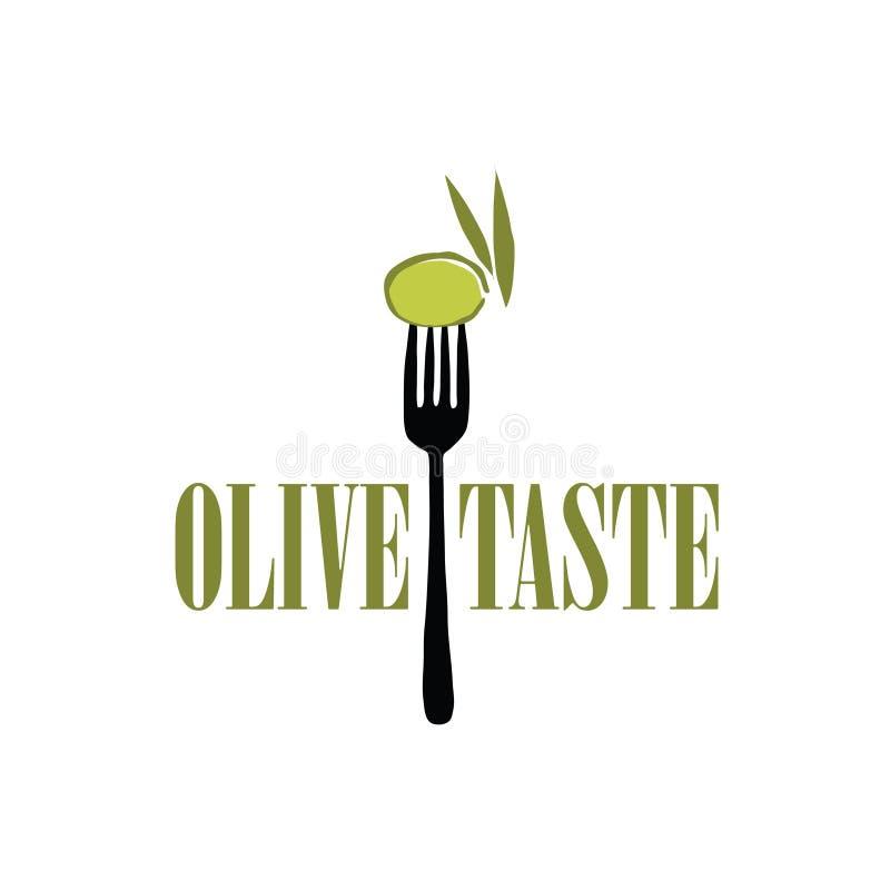 Olive verte luisante sur une illustration fraîche noire de fourchette dans le formant illustration libre de droits