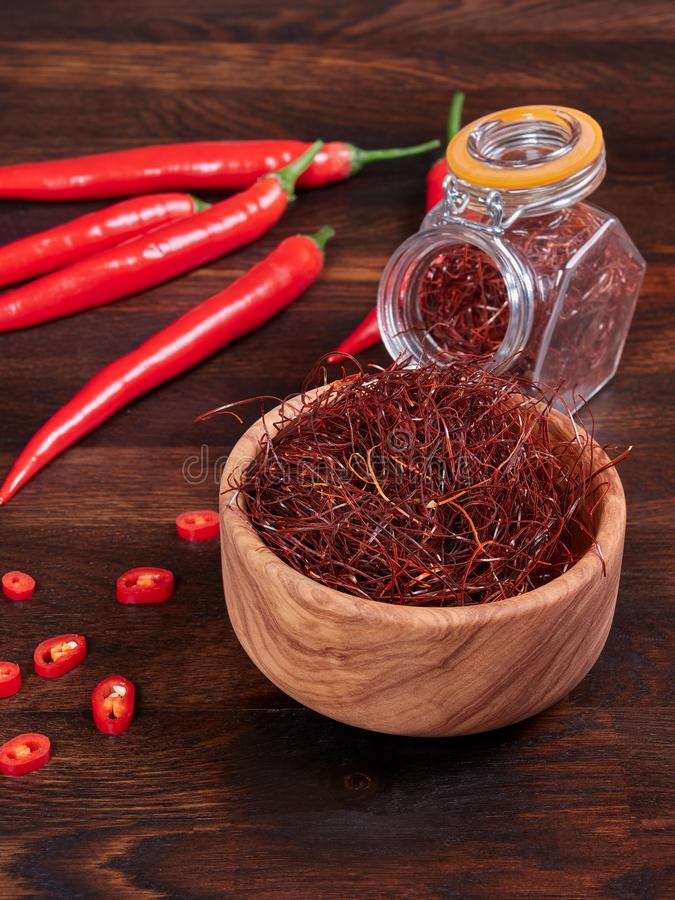 Extremely thin threads of sun-dried red chili also known as angel hair chili royalty free stock photography