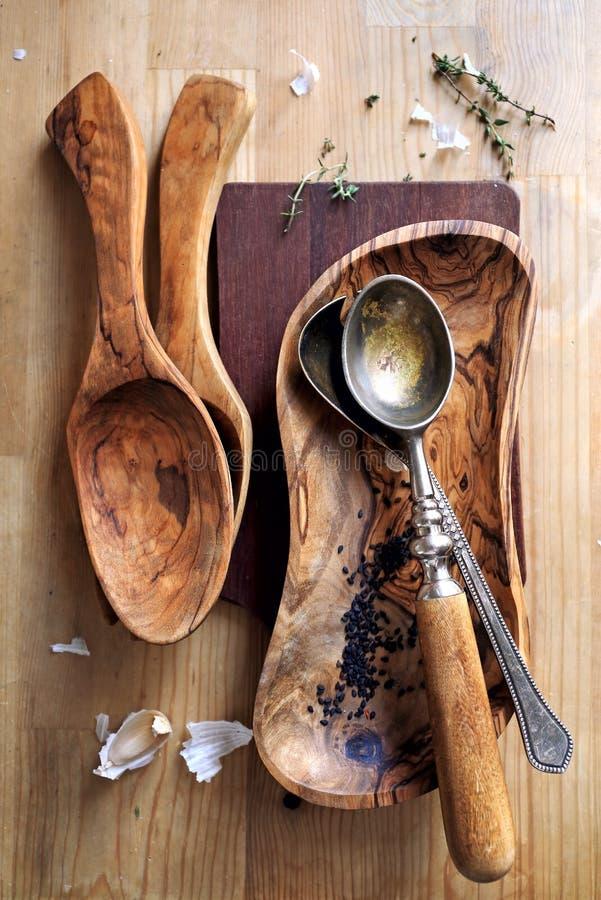 Delightful Olive Wood Kitchen Utensils #15 - Download Olive Wood Cooking Utensils Stock Image - Image Of Soup, Spoon:  53991685