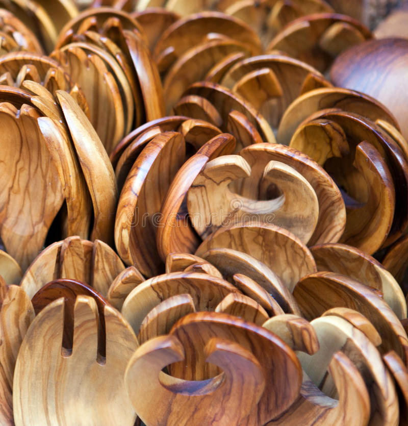 Olive wood salad spoons royalty free stock photos