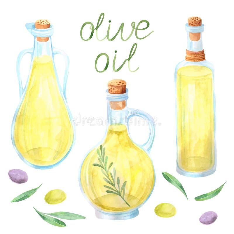 Olivenöl-Flaschenoliven des Aquarells stock abbildung