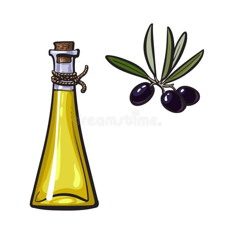 Olivenöl-Logoikone der Vektorskizze lokalisiert vektor abbildung