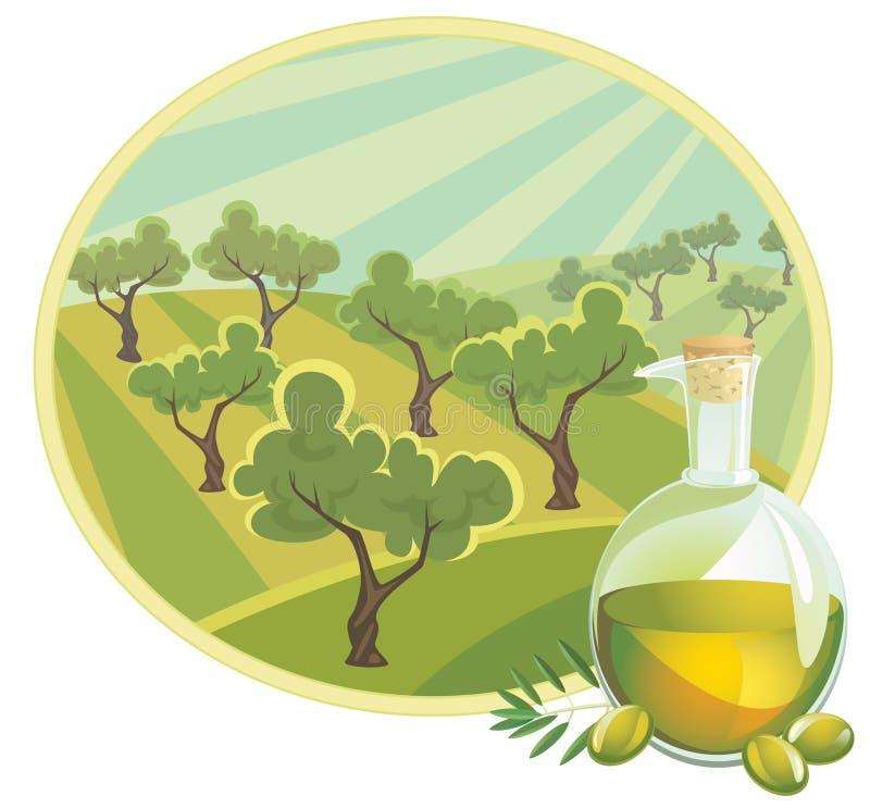 Olivenöl mit landwirtschaftlicher Landschaft vektor abbildung