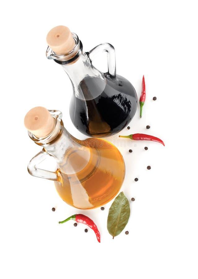 Olivenöl und balsamischer Essig lizenzfreies stockfoto